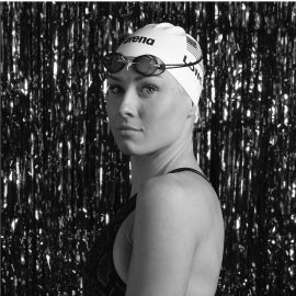 Jessica Long in Swim cap and suit black and white portrait